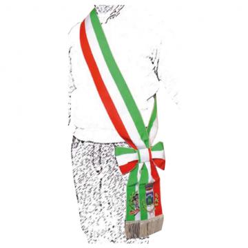 Fascia da sindaco lusso con ricamo stemma comunale e logo della Repubblica