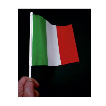Bandierina Italia economica in poliestere leggero con astina in plastica e pomolino