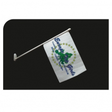 Bandierina promozionale in carta o nautico con astina in plastica da cm 31 e piedino adesivo inclinato a 45°